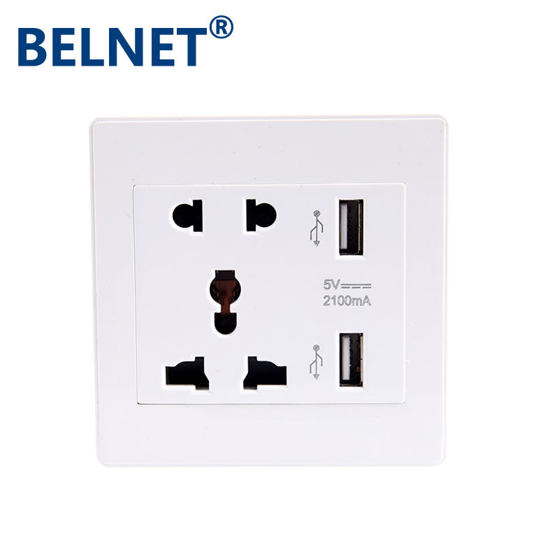 Safe DurableFashion USB Wall Socket for US UK EU AU RU 2 Port 5.0V USB Outlet Power Charger for Cellphone fast charging usb charger power travel adapter strip switch led display screen with 8 usb socket ports for us uk eu plug sockets