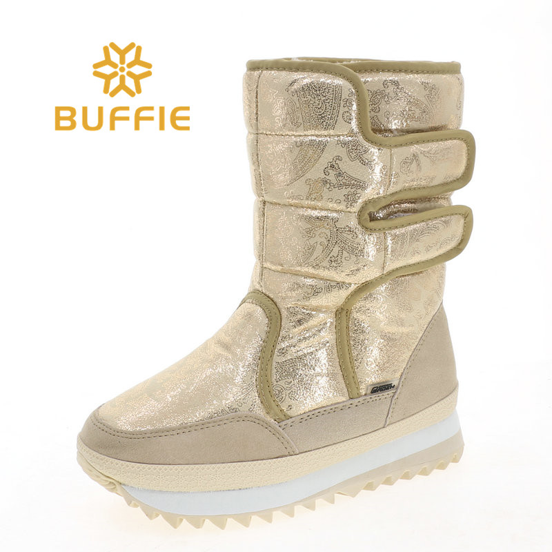 Beige colour gold boots women winter shoes warm snowboot size 37 only one pair sample selling fashion look free shipping only for sample payment