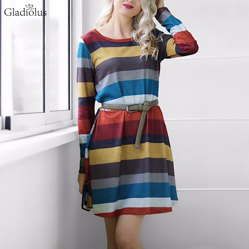 Gladiolus 2018 Autumn Winter Women Dress O-Neck Long Sleeve Striped Pocket Loose Casual Midi Knitted Sweater Dress Party Dresses