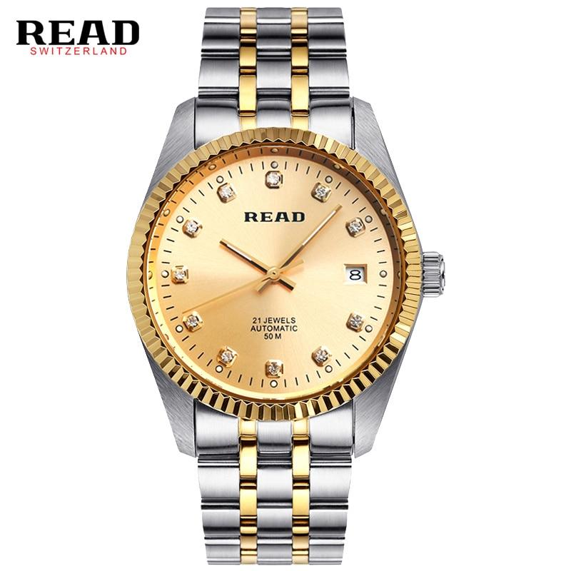 2016 READ Luxury men s mechanical watches Stylish Man full steel Waterproof watch relogio masculino Men