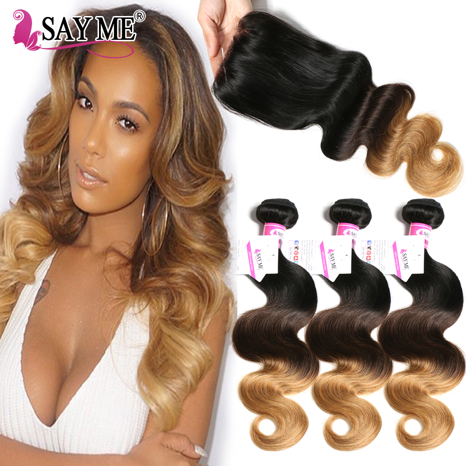 Malaysian Hair Bundles With Closure Ombre 3 Body Wave Bundles With Closure Remy Ombre Human Hair