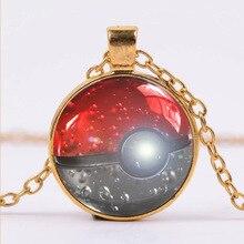 Vintage Pokemon Glass Dome Pendant Necklace Women Men Jewelry