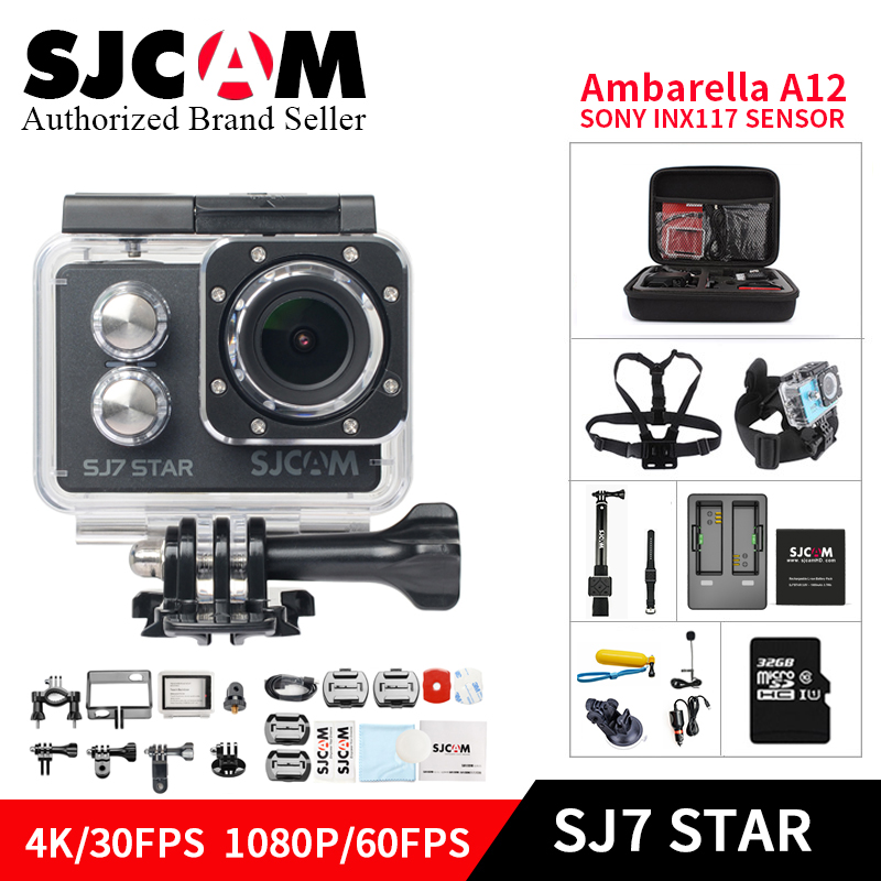 Original SJCAM SJ7 STAR Wifi 4k GYRO Touch Screen Ambarella A12S75 30M Waterproof Remote Sports DV Action Camera sj Car mini DVR 2 0 4k sjcam sj5000 series sj5000x elite wifi ntk96660 mini gyro 30 waterproof sports action camera sj cam dvr many accessories