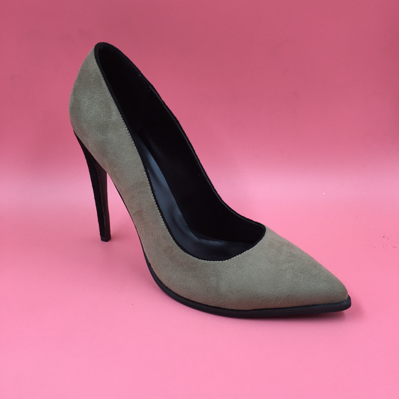 Khaki Grey Sexy Suede Women Pumps High Heels Stilettos Shoes Women Pointed Toe Slip-on Shoes Women OL Pump Spring Style Shoes 2018 spring pointed toe thick heel pumps shoes for women brand designer slip on fashion sexy woman shoes high heels nysiani