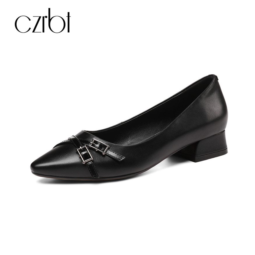 CZRBT Concise Style Women Office Ladies Work Low Heels 3cm Pumps Top Handmade Cow Leather High Quality Women Shoes Big Size czrbt geniune cow patent leather front zipper women high heels 8cm boots ladies brand style mid calf shoes women 100% handmade
