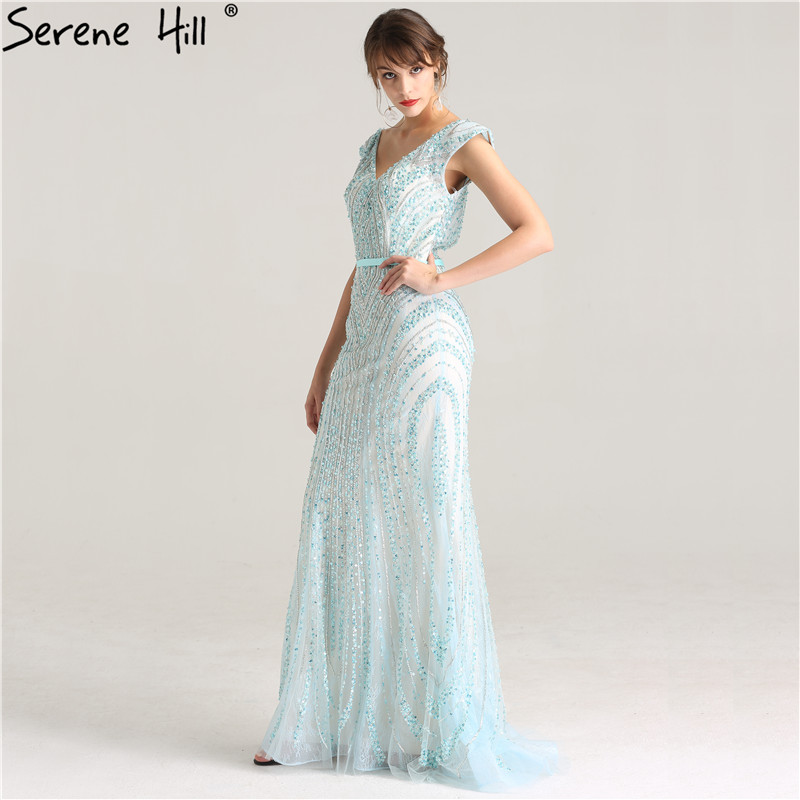 Image 5 - Luxury  V  Neck  Mermaid  Tulle Evening Dress Beading Hard working  Long Evening Gowns 2020 Serene Hill LA6049long evening gownstulle evening dressevening gown -