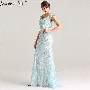 Image 5 - Luxus V ausschnitt Meerjungfrau Tüll Abendkleid Perlen Harte arbeit Lange Abendkleider 2020 Ruhigen Hill LA6049