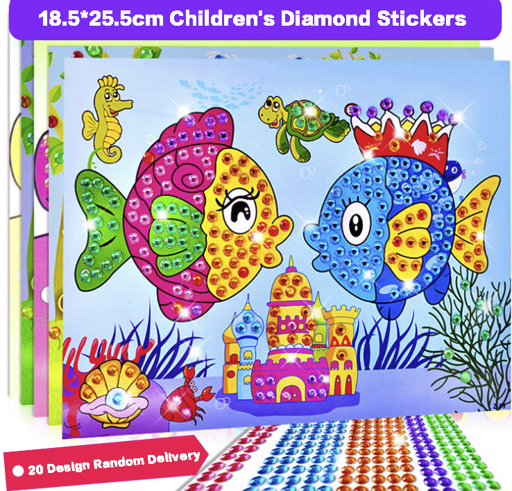 3pc Cartoon 2 in 1 Diamond Coloring Drawing Sticker Handmade DIY Toy Sets Painting Graffiti Education