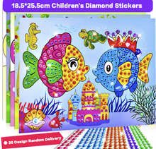 3pc Cartoon 2 in 1 Diamond Coloring Drawing Sticker Handmade DIY Toy Sets Painting Graffiti Education Gift for Children Birthday