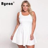 Tunika Ryeon Plus Size Kobiety Sukienka 2017 Sexy Tank Biały Różowy Granatowy Dorywczo Rocznika Jesień Powrót Zipper Party Sukienki Biurowe 3xl