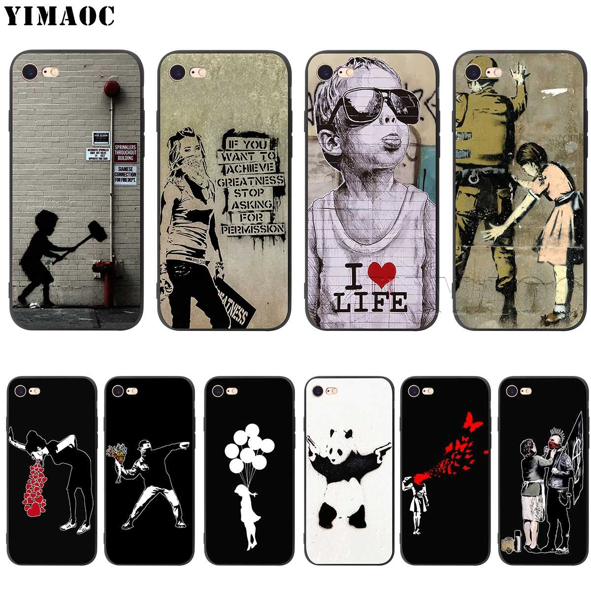 YIMAOC Banksy Graffiti ซิลิโคนนุ่มสำหรับ iPhone 11 Pro XS Max XR X 8 7 6 6S Plus 5 5S SE