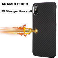 100% Aramid Fiber Slim Minimalist Strong Solid Durable Snap on Exact Fit Hard Back Cover for Apple iPhone X XS XR Xs MAX Case