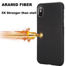 100% Fibra Aramidica Slim Minimalista Forte Solido Durable Snap on Esatta Fit Duro Della Copertura Posteriore per il iphone di Apple X XS XR Xs Caso di MAX