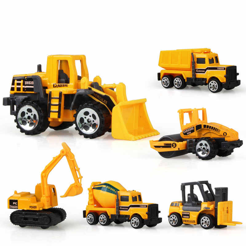 6 Types Mini Alloy Diecast Engineering Toy Car Vehicles Model Forklift Excavator Bulldozer Model Car Birthday Gift for Kids Boys