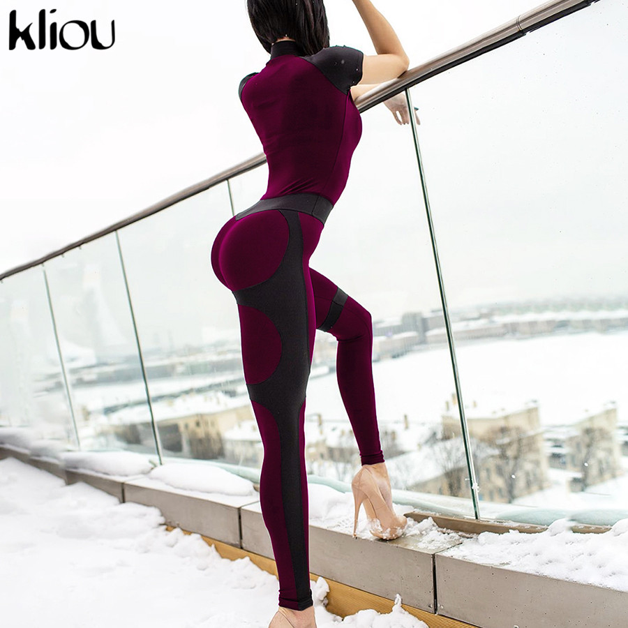 Kliou 2019 Women Casual Jumpsuit Outfit Zipper Turtleneck Short Sleeve Black Red Patchwork Rompers High Waist  Skinny Bodysuit