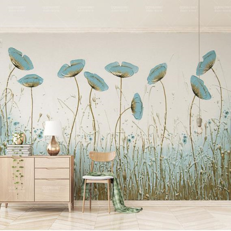 Custom Photo Wallpapers for Walls 3D Hand-painted Leaf Wall Papers for Living Room Bedroom Murals Home Decor Naturals Landscape custom wallpaper for walls 3 d effect flower murals simple hand painted desktops wall mural blue flower wallpapers living room