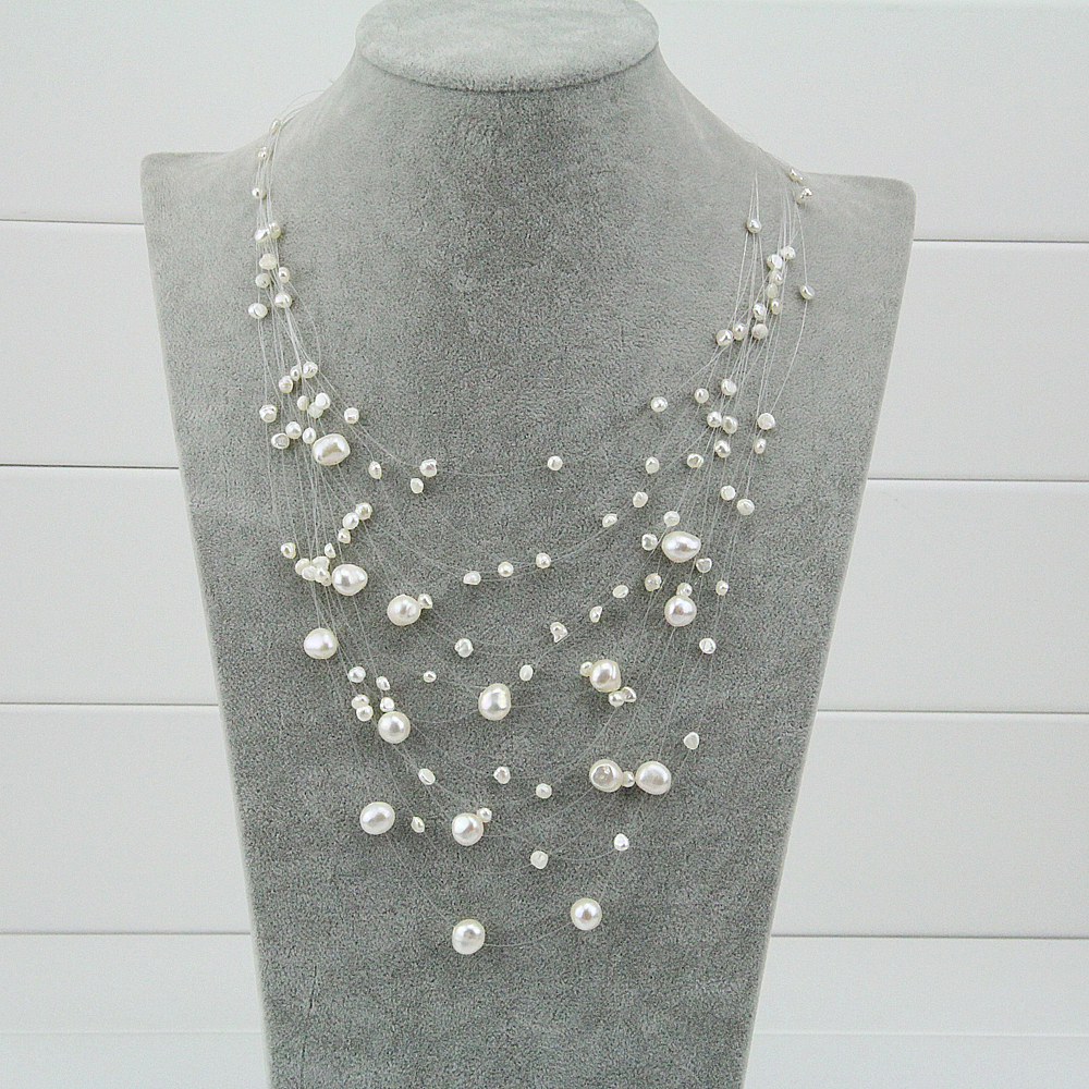 15 Strand Multi Strand Chunky Pearl Necklace,baroque Freshwater Pearl  Statement Bib Necklace,pearl