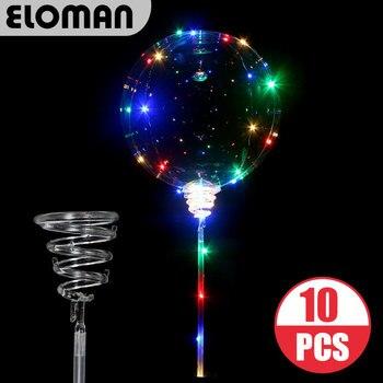 ELOMAN 10 sztuk Party LED jasne balony z kijem dekoracje weselne 3m Led linghts jasne led Bobo bubble balony