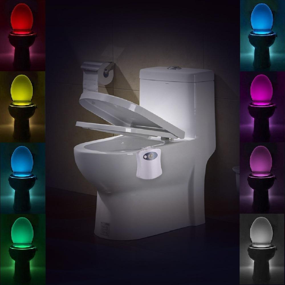 Baño inteligente Inodoro Luz nocturna LED Cuerpo Movimiento Activado Encendido / Apagado Asiento Sensor Lámpara 8 Color PIR luces led decoracion iluminación