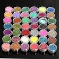 Venta caliente de 45 Colores/set Polvo de Acrílico Del arte Del Clavo Glitters Shimmer Luminoso brillo Del Clavo Del Polvo Metálico cromo pigmentos Belleza herramientas
