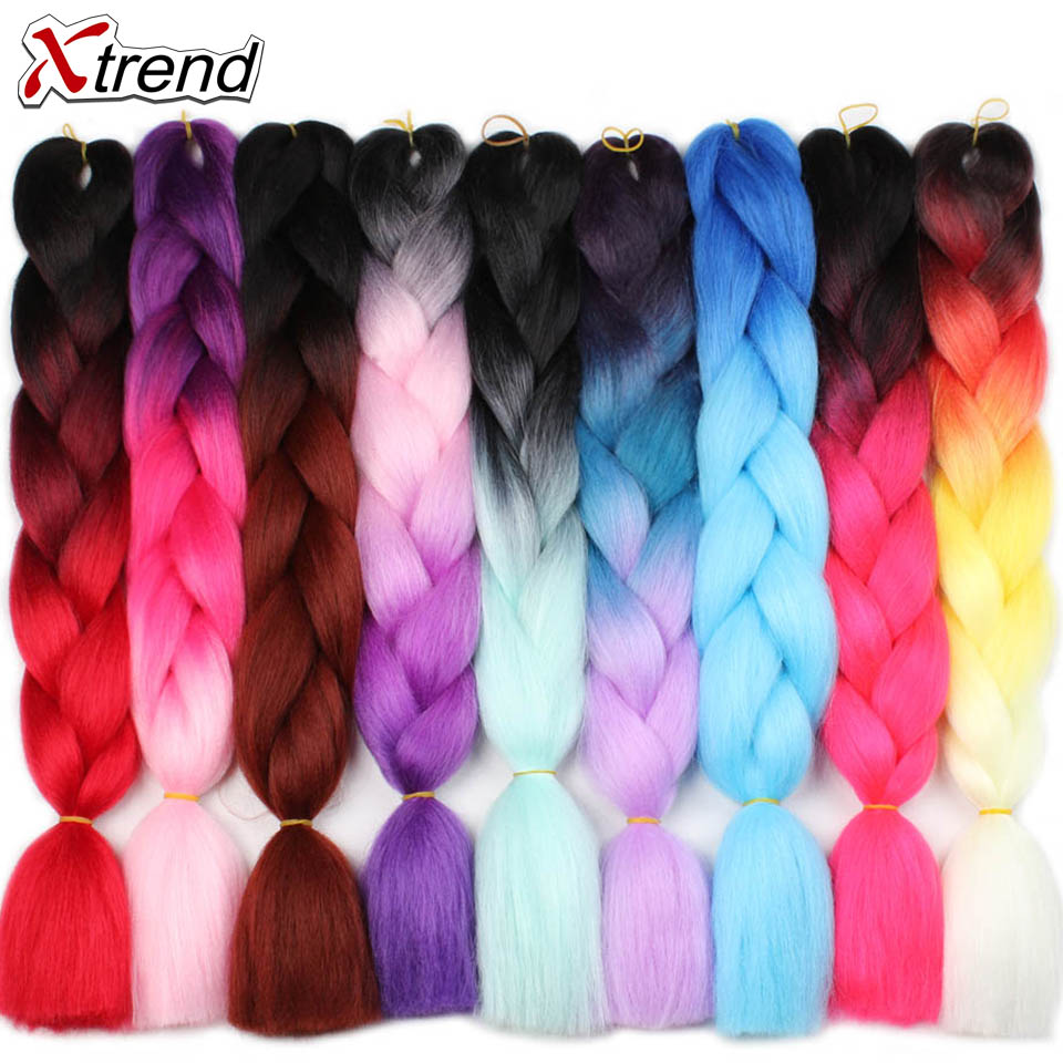 Xtrend Ombre Jumbo Braids Hair 24inch 100g Synthetic Crochet Braids Hair Extensions Fiber For Women One Tone Two Tone Three Tone(China)