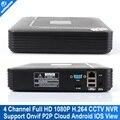 Nova 2mp Inteligente CCTV Onvif Mini 4CH NVR 1080 P Apoio em tempo real a Reprodução de Vídeo + HD IP Network Camera Gravador de Vídeo com 1080 P HDMI