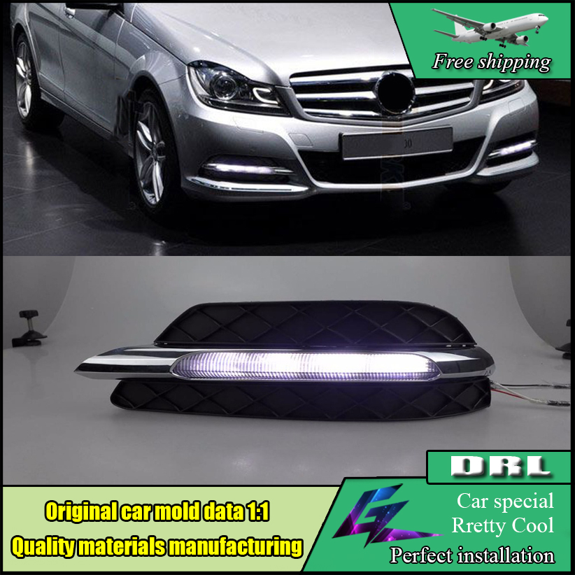 Car Styling LED DRL For Mercedes Benz W204 C Class C200 C260 C300 2011-2013 LED Front Bumper Daytime Running Lights Daylight akd car styling for mercedes benz c class w204 led star light drl front grille led logo hollow emblem daytime running light