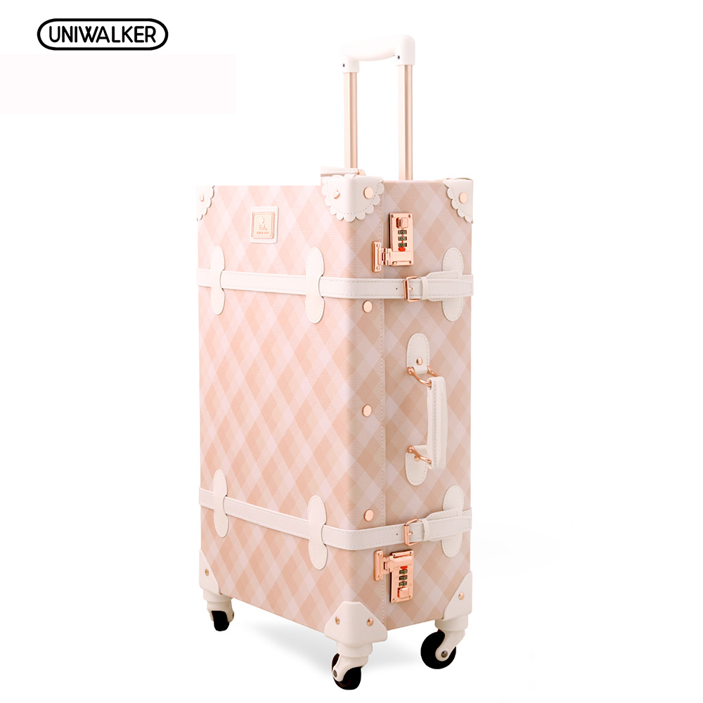 20 - 26 Spinner Wheels Pink Grating Valise Bagages Pu Leather Suitcase Women Trunk Vintage Luggages Rolling Luggage for Girls20 - 26 Spinner Wheels Pink Grating Valise Bagages Pu Leather Suitcase Women Trunk Vintage Luggages Rolling Luggage for Girls