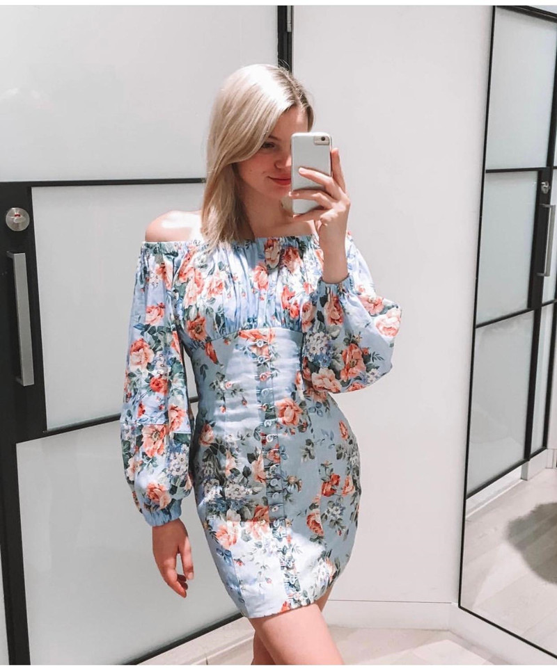 ดอกไม้สีฟ้าพิมพ์ผ้าลินิน Mini ชุดปิดไหล่แขนพัฟปุ่มด้านหน้ารายละเอียดผู้หญิงคุณภาพสูงชุด-ใน ชุดเดรส จาก เสื้อผ้าสตรี บน   2