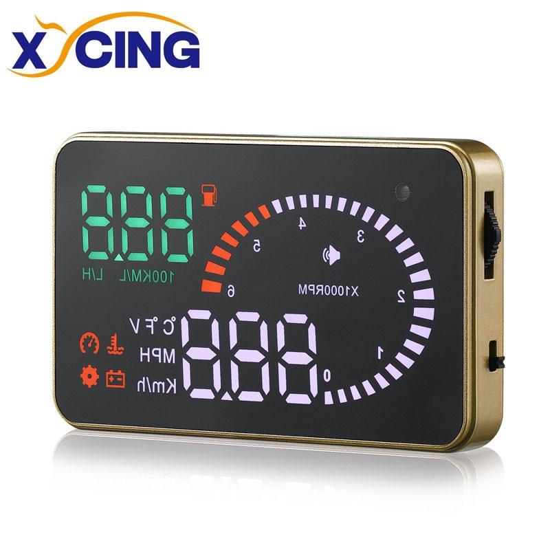 XYCING X6 OBD2 et EUOBD HUD Affichage Tête Haute Pare-Brise Du Véhicule De Voiture Projecteur Numérique Compteur De Vitesse La Consommation de Carburant Vitesse D'alarme