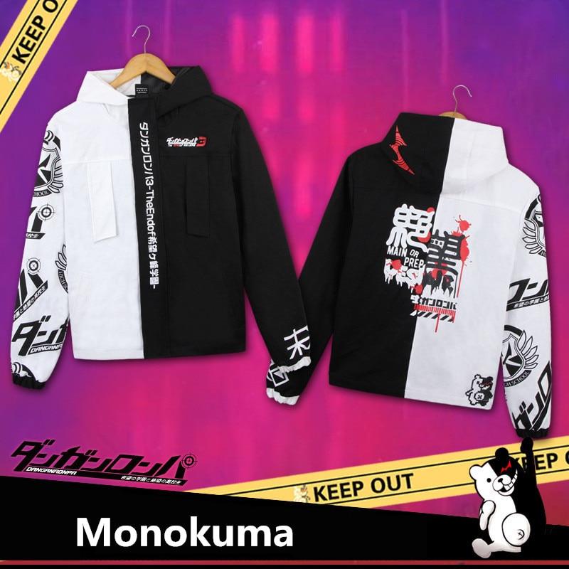 Monokuma Danganronpa Косплей Костюм однотонные хлопковые толстовки для женщин и мужчин Толстовка с капюшоном утепленные куртки пальто черный белый