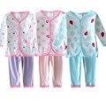 Ropa del bebé fija 3 Unids/lote Impresión Rretail Lindo Algodón de los Bebés Mamelucos Largos de la Manga Tops + Pants