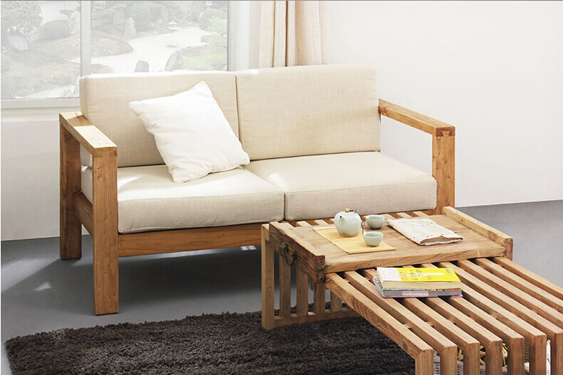 All solid wood furniture Chinese wooden sofa living room ...