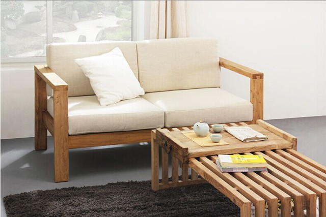 All Solid Wood Furniture Chinese Wooden Sofa Living Room Combination Minimalist Trio Excluding