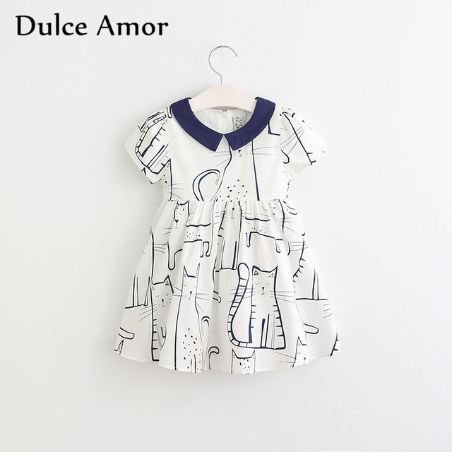 fc57ac011 Clearance Girls Dress Baby Girls Clothes Short Sleeve Print Cats Princess  Dress Back Tie Up Bow Girls Party Dress