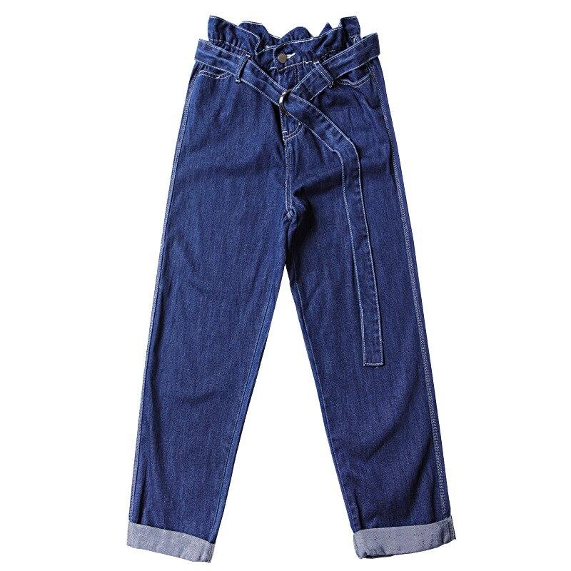 Dark Alta Cinturón Pantalones Las Para Mujer Juniors Cintura Mezclilla De Sueltos Recta Vaqueros Pierna Con Blue Fajas Mujeres Jeans YHHOwqTx