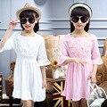 2016 летнее платье девушки 5-7-8-9-12 лет девочки платья детская одежда baby girl одежда розовый кружевной детская одежда 767 кружевном платье