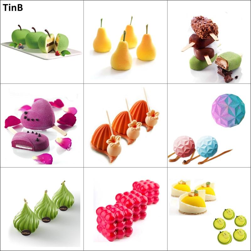 3D Obst Apple Runde Silikon Formen Kuchen Dekorieren Werkzeug Backformen Dessert Mousse Kuchen Form Backen Cupcake Schokolade Silikon Pan
