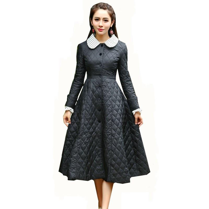 ФОТО New Winter Women Down Coat Jacket Warm High Quality Slim Women Parka Winter Coat With Dot Print Lapel Black Outwear
