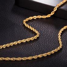 Ожерелье чокер с узлом Женская Мужская цепочка из веревки золотое