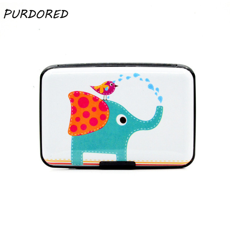 PURDORED 1 Pc New Pattern RDIF Card Holder Unisex Aluminum Business Card Holder Cartoon Animal Case Wallet Tarjetero Mujer