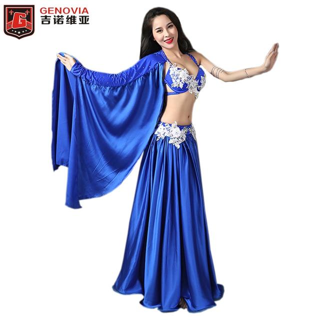 c39bd7acf Professional Belly Dancing Costumes Set Performance Diamond 2PCS Bra Skirt  Luxury Handmade Women Belly Dance Colour 3