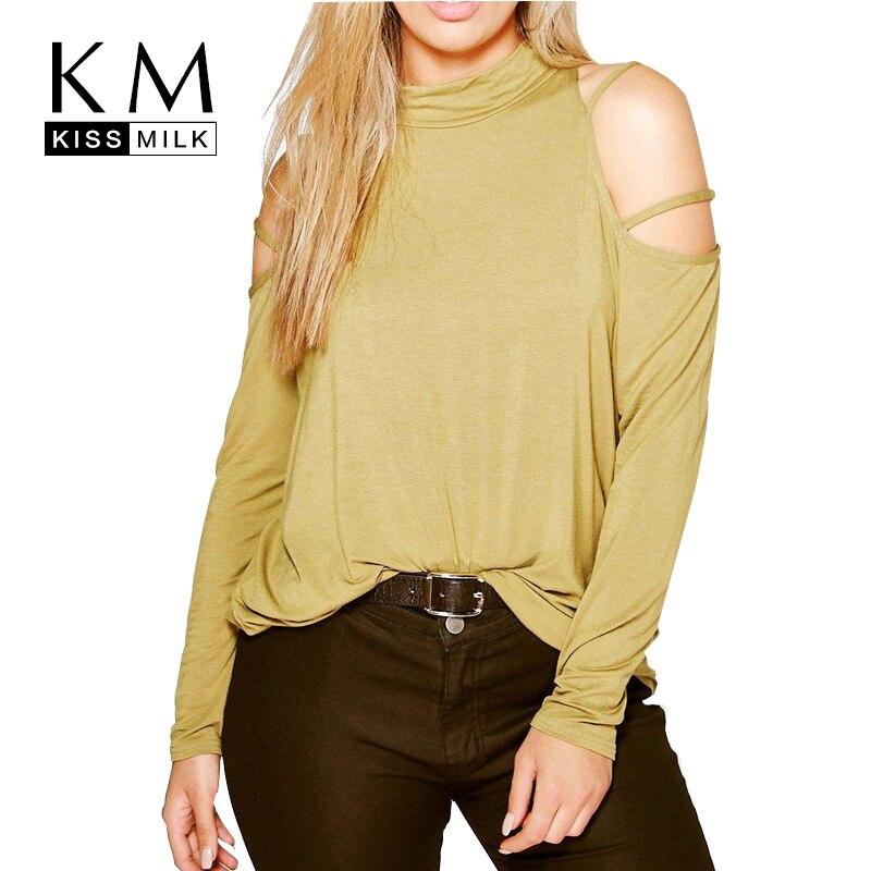 65f79ad2701f2 Kissmilk Plus Size New Autumn Women Cold Shoulder Big Large Size Sexy High  Neck Basic Tops