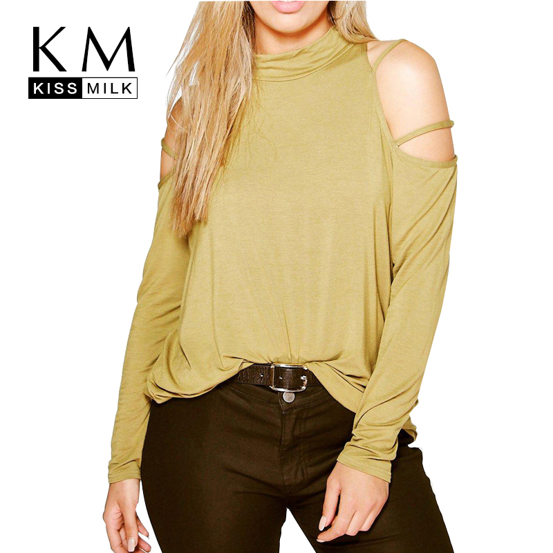 Kissmilk plus size new autumn women cold shoulder big for Large shirt neck size