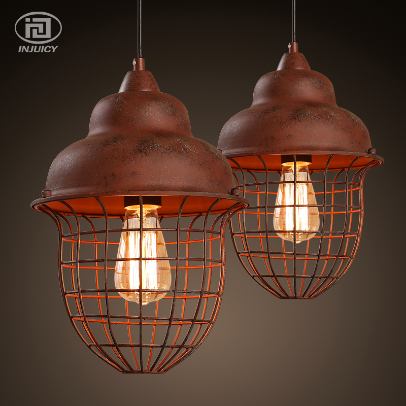 Vintage Edison Chandelier Rusty Lampshade American Industrial Retro Iron Pendant Lights Cafe Bar Clothing Store Ceiling Lamp led lamp creative lights fabric lampshade painting chandelier iron vintage chandeliers american style indoor lighting fixture