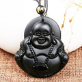 Natural Black Obsidian Buddha Pendant Maitreya Women's lucky jewelry Necklace pendant transport Free Shipping