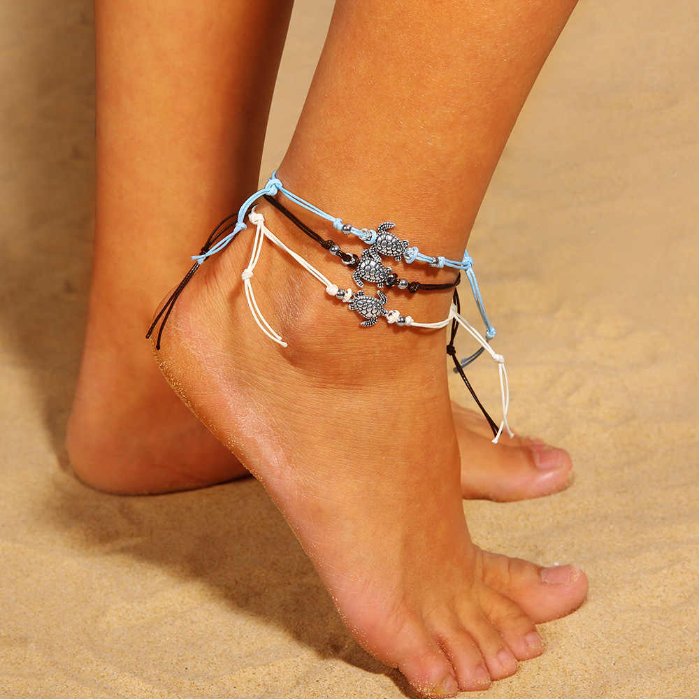 1set=3pcs Vintage Tortoise Anklets for Women Fashion Black White Wax String Lacing Foot Jewelry Minimalist Turtle Ankle Bracelet