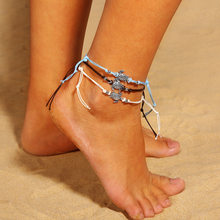 1set=3pcs Vintage Tortoise Anklets for Women Fashion Black White Wax String Lacing Foot Jewelry Minimalist Turtle Ankle Bracelet(China)