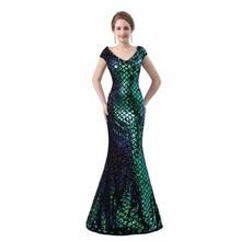 2018 Sleeveless Sequin Mermaid Evening Dresses Dark Green Long Formal Dress Embroidery Party vestido de festa
