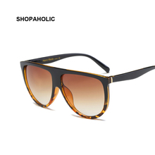 Flat Top Mirrored Sunglasses Women Brand Designer Shield Sun